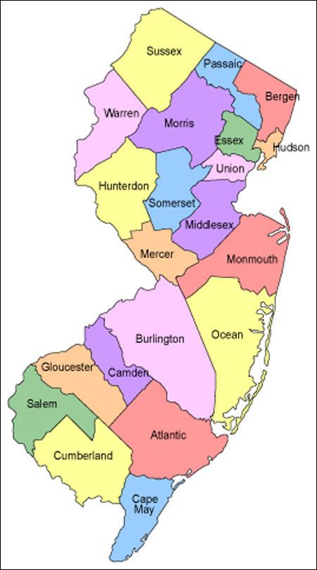 NJTownGuidecom NJ Counties - Map of nj counties